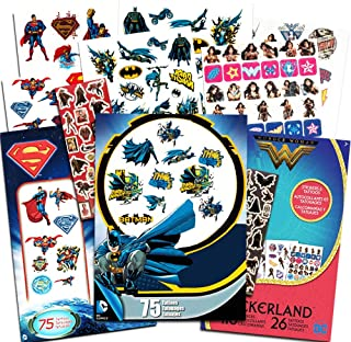DC Comics Super Hero Party Supplies Set -- Over 175 Superhero Temporary Tattoos and 400 Stickers Featuring Justice League Batman, Wonder Woman, Superman (Superhero Party Favors Pack)
