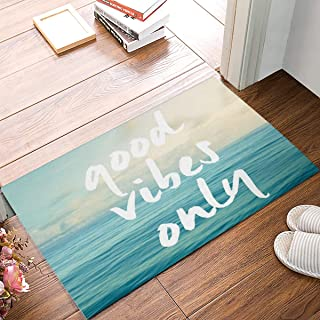 Funny Quotes Door Mat,Good Vibes Only Blue Sea Art,Decorative Felt Floor Mat with Non-Skid Backing,Fit for Home Indoor Kitchen(20 x 31.5 Inch)