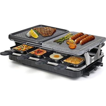 Raclette Appareil 8 Personnes Machine à Raclette avec Pierre Naturelle Antiadhésive en Aluminium 2 In 1 avec 8 Mini Casseroles, Thermostat Réglable, 1300W
