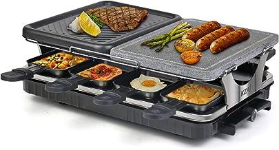 Raclette Appareil 8 Personnes Machine à Raclette avec Pierre Naturelle Antiadhésive en Aluminium 2 In 1 avec 8 Mini Casser...