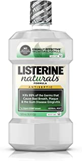 Listerine Naturals Antiseptic Mouthwash, Fluoride-Free Oral Care To Prevent Bad Breath, Plaque Build-Up and Gingivitis Gum Disease, Herbal Mint, 500 mL