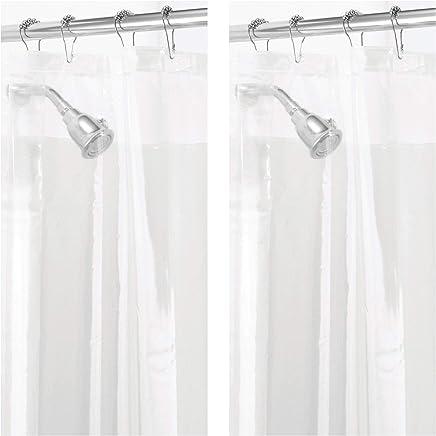 "mDesign - 2 Pack - Waterproof, Mold/Mildew Resistant, Heavy Duty PEVA Shower Curtain Liner for Bathroom Showers and Bathtubs - No Odor, Chlorine Free - 3 Gauge, 72"" x 72"" - Clear"