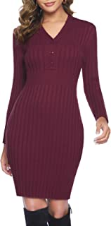 Hawiton Vestido de Punto para Mujer Vestido de Invierno de Manga Larga de Cuello Pico con Botones Suéter con Cable Jerseys...
