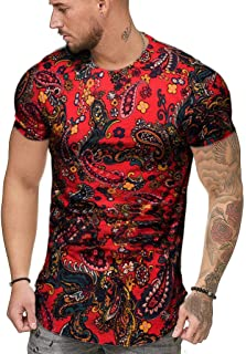 Men's African Dashiki Print Shirt Short Sleeve Graphic Funny Shirt Bright Color Tribal Top Shirt