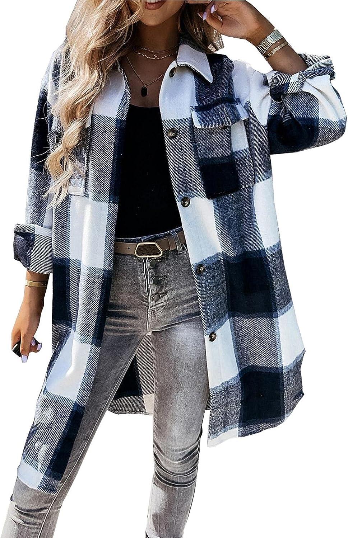 Women Plaid Long Jacket ! Super beauty product restock quality top! Super sale Shacket Down Oversized Shirt Flan Button
