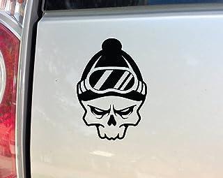 """Nashville Decals Snowboarding Snowboarder Snowboard Skiing Skier Ski Skull Vinyl Decal Laptop Car Truck Bumper Window Sticker, 5"""" x 7"""", Black"""