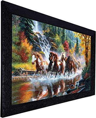 Amazon Brand - Solimo River Horse Painting with Frame