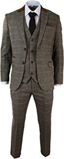 Marc Darcy Men's Suit Vintage Herringbone Brown Tweed Look 3 Pieces Tight Waisted Wedding