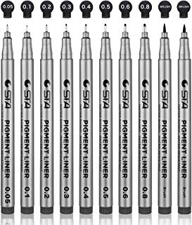 Set of 10 Black Micro-Pen Fineliner Ink Pens - Waterproof Archival ink Micro Fine Point Liner Pen, Multiliner - Sketching, Anime, Artist Illustration, Technical Drawing, Office Documents, Scrapbooking