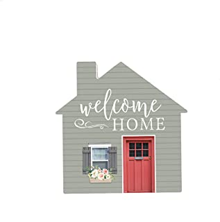 P. Graham Dunn Welcome Home House Floral Grey 3 x 3 Pine Wood Decorative Small Tabletop Plaque