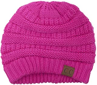 Black Thick Slouchy Knit Oversized Beanie Cap Hat,One Size,Hot Pink