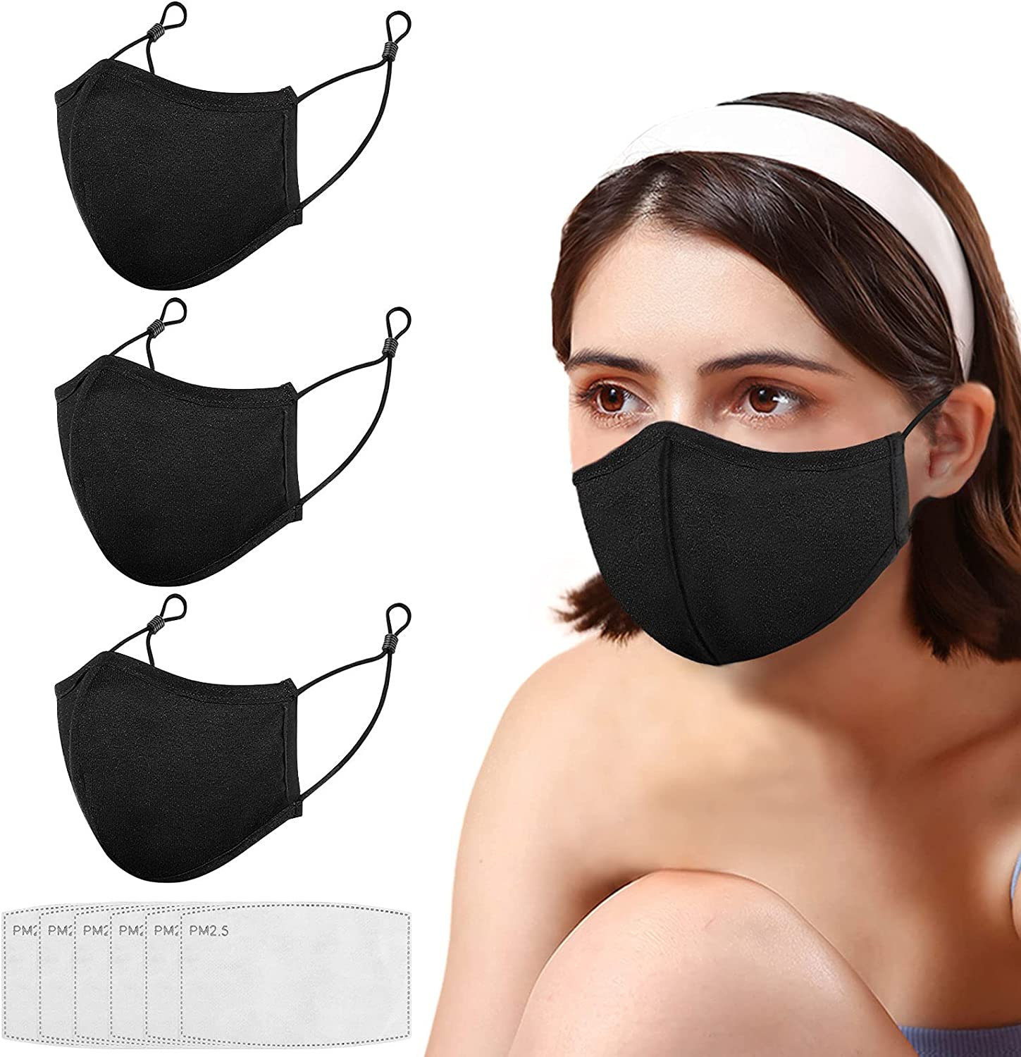 Black Max 81% OFF Import Face Mask Reusable with 6 Cloth Me Filters
