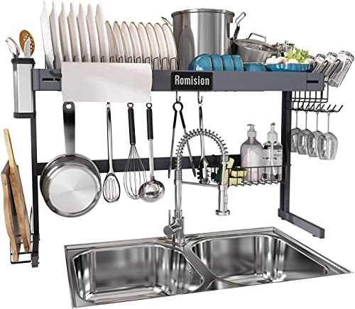 popular Over The Sink Dish Drying Rack, Adjustable Height and Length wholesale 2 Tier Large Dish Rack, outlet online sale Expandable Stainless Steel Dish Drainer Shelf for Kitchen Counter Organizer Space Saver with 6 Hooks(Fit 99% Sink) online