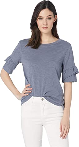 Soft Slub Short Ruffle Sleeve Tee