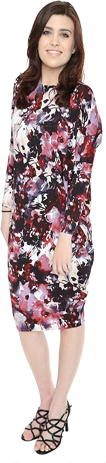 Baby'O Women's Printed Long Sleeve Comfy Cover-Up Midi Dress