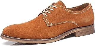 La Milano Suede Lace Up Leather Oxfords Classic Comfortable Modern Plain Toe Dress Shoes for Men
