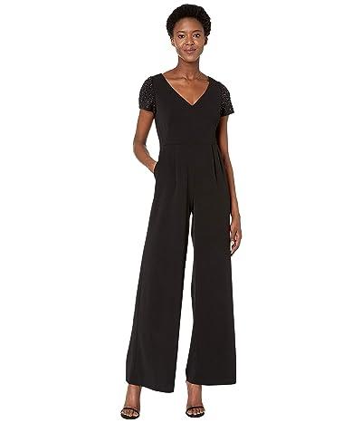 Calvin Klein Embellished Sleeve Jumpsuit (Black) Women