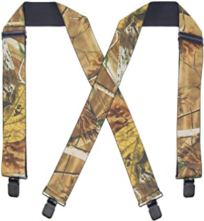Refinemmee Mens 2 Inch Camo Pattern Suspender X Back Elastic Strong Clips End