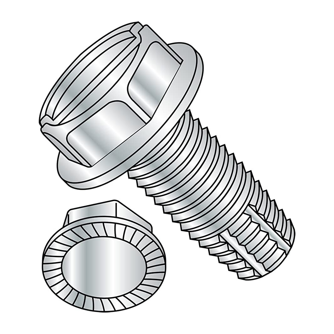 Steel Thread Cutting Screw, Zinc Plated Finish, Serrated Hex Washer Head, Slotted Drive, Type F, 5/16