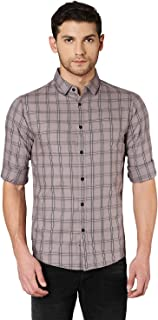 Dennis Lingo Men's Checkered Dusty Pink Slim Fit Casual Shirt