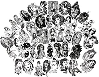 FNGEEN Sexy Women Stickers Pack Black and White Stickers [68pcs] Laptop Stickers Bomb Tattoo Beauty Pinup Girls Stickers and Decals Vintage Retro Stickers For Luggage Skateboard Phone Case Guitar Car