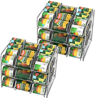 NEX 2 Pack 3 Tier Stacking Can Rack Organizer, Chrome Stackable Can Storage Dispenser Holder for 36 Cans (Each)