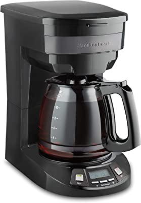 Hamilton Beach 46293 - Cafetera programable (12 tazas, acero inoxidable), color negro
