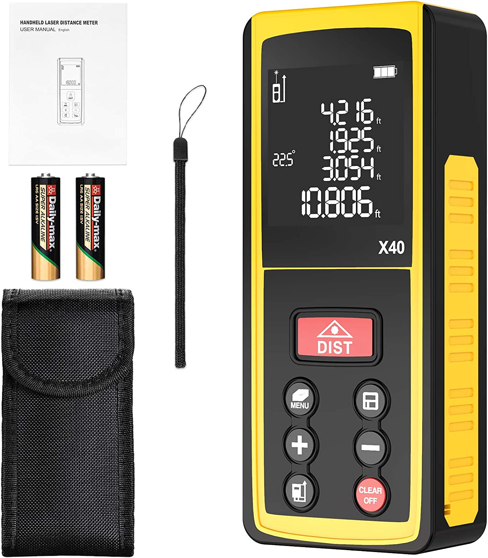 Medidor Laser, papasbox 40m/131ft Medidor de Distancia Láser con Sensor de Ángulo Electrónico, 99 Datos, Herramienta de Medición Portátil Multifuncional, LCD Pantalla Reiluminada-Batería Incluida