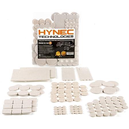 Hynec Almohadillas de Fieltro Adhesivo Premium para Muebles Set GRANDE de 8 Tamaños Protector de Patas para Sillas, Mesas, Suelo