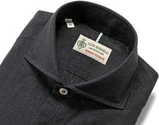 ルイジボレッリ ルイジボレリ LUIGI BORRELLI / 20SS!製品洗いリネンポプリン無地ホリゾンタルカラーシャツ「NA35(9130)」 (ブラック) メンズ