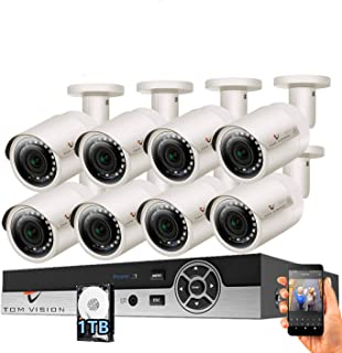 Tomvision 2K Security Camera System 8CH 2MP Video DVR with 8Pcs 2.0Megapixel Indoor Outdoor Waterproof IP66 Cameras,Home S...