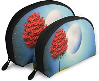 Pouch Zipper Toiletry Organizer Travel Makeup Clutch Bag Magical Red Tree Art Portable Bags Clutch Pouch Storage Bags
