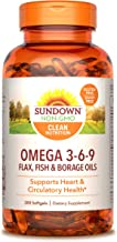 Sundown Triple Omega 3-6-9, Heart and Circulatory Health*, 200 Softgels (Packaging May Vary) Non-GMOˆ, Free of Gluten, Dairy, Artificial Flavors