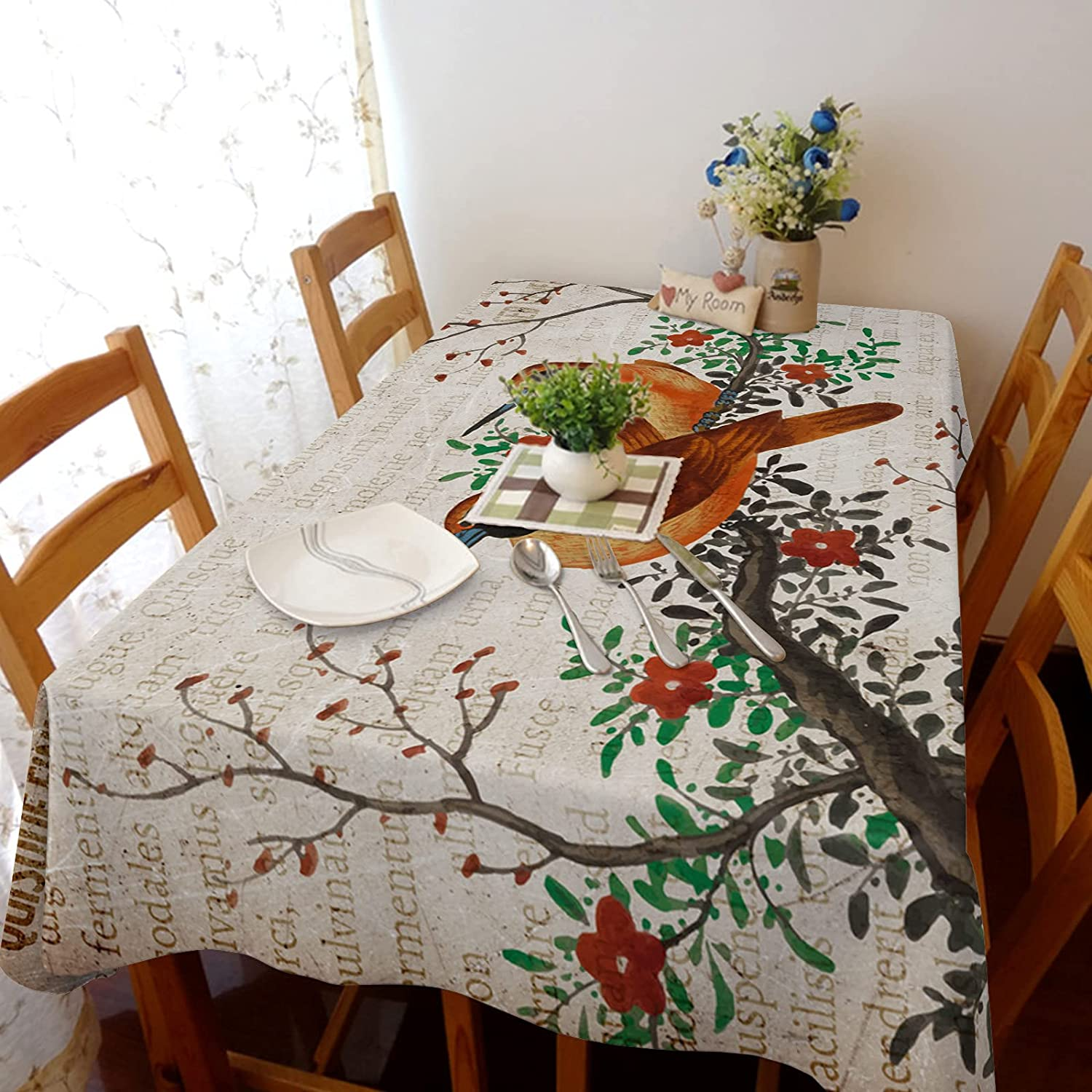 TH XHome Tablecloth Linen Austin Mall Burlap Fabric Flowers Bir Weights and Challenge the lowest price