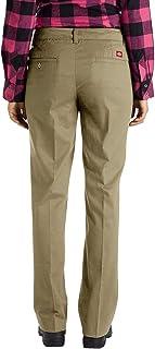 Dickies Women's Relaxed Fit Straight Leg Twill Pant, Desert Sand, 6 Long