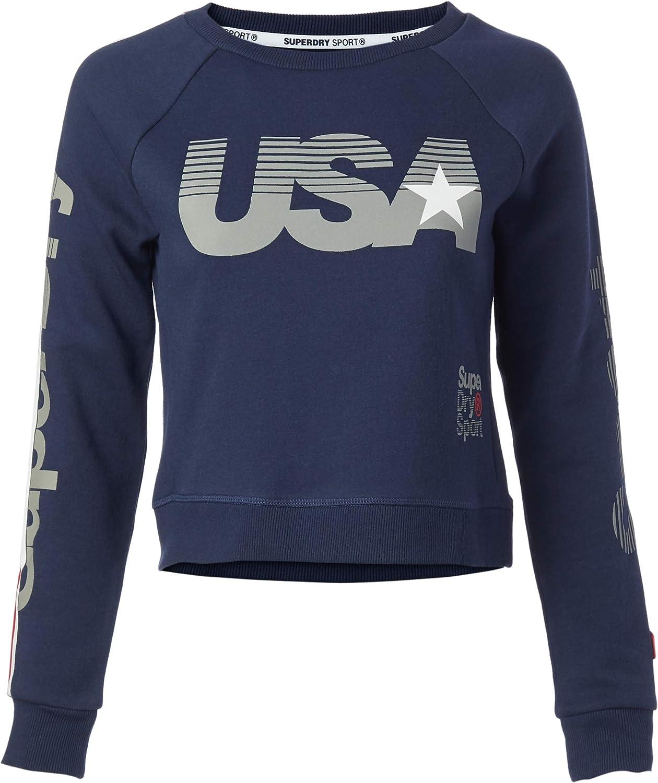 価格交渉OK送料無料 Superdry Women's Gym Tech USA Sweatshirt Crop Neck Crew 永遠の定番モデル