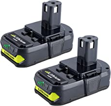 Biswaye 2 Pack 18V Lithium Battery for Ryobi P102, 2.5Ah Replacement Battery for Ryobi..