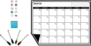 Everglades Backcountry Magnetic PET Whiteboard Dry Erase Monthly Calendar Sheet 17 x 13 inches with 4 Colored Pens & Eraser Complete with Bonus 10 Custom Colorful Picture Icons