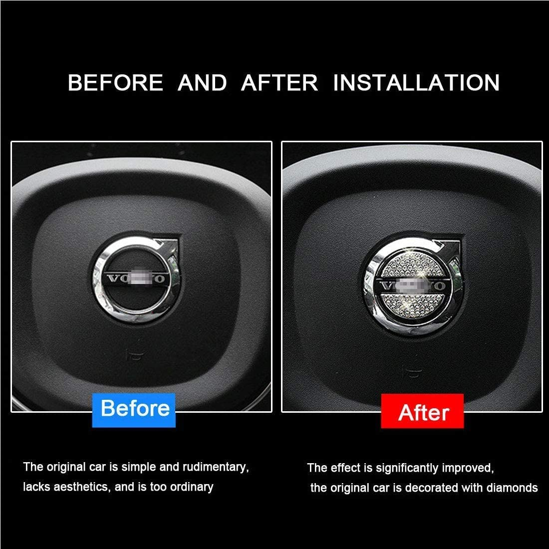 SummerPlus Car Steering Wheel Decorative Diamond Crystal Decal Decoration Cover Sticker Compatible with Mercedes Benz Compatible with Mercedes Benz 45mm