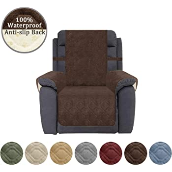 Ameritex Waterproof Recliner Cover Coral Fleece Furniture Protector Anti-Slip Updated Pattern Supper Soft and Warm Pet Sofa Cover for Dogs and Children (Chocolate, Recliner)