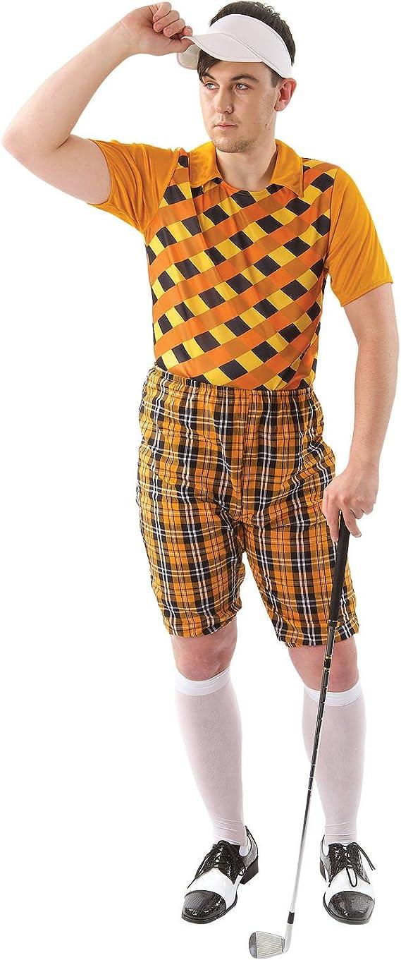 90s Outfits for Guys | Trendy, Party, Cool, Casaul Orion Costumes Mens Tartan Pub Golf Golfer Stag Fancy Dress Costume Hat Visor Orange  AT vintagedancer.com