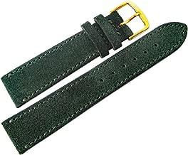 Fluco 18mm Dark Green Suede Leather Gold Buckle Watch Strap