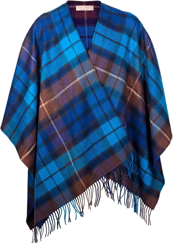 Ladies Shawl Wrap Lambswool Buchanan bluee Tartan 142 x 180 cm
