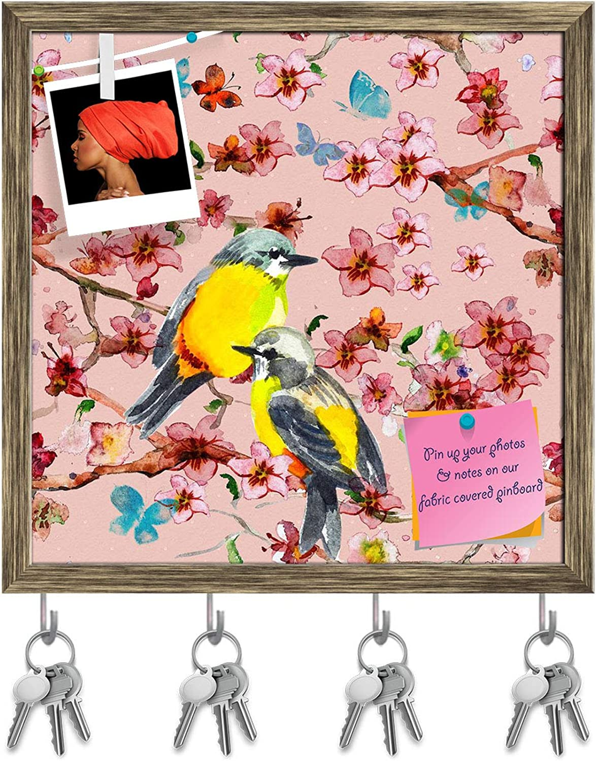 Artzfolio Birds & Flowers D5 Key Holder Hooks   Notice Pin Board   Antique golden Frame 20 X 20Inch