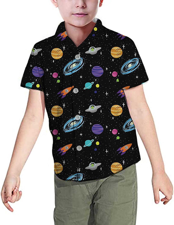 doginthehole Boys Button Down Shirt Short Sleeve Beach Hawaiian Aloha Shirt Tee Tops
