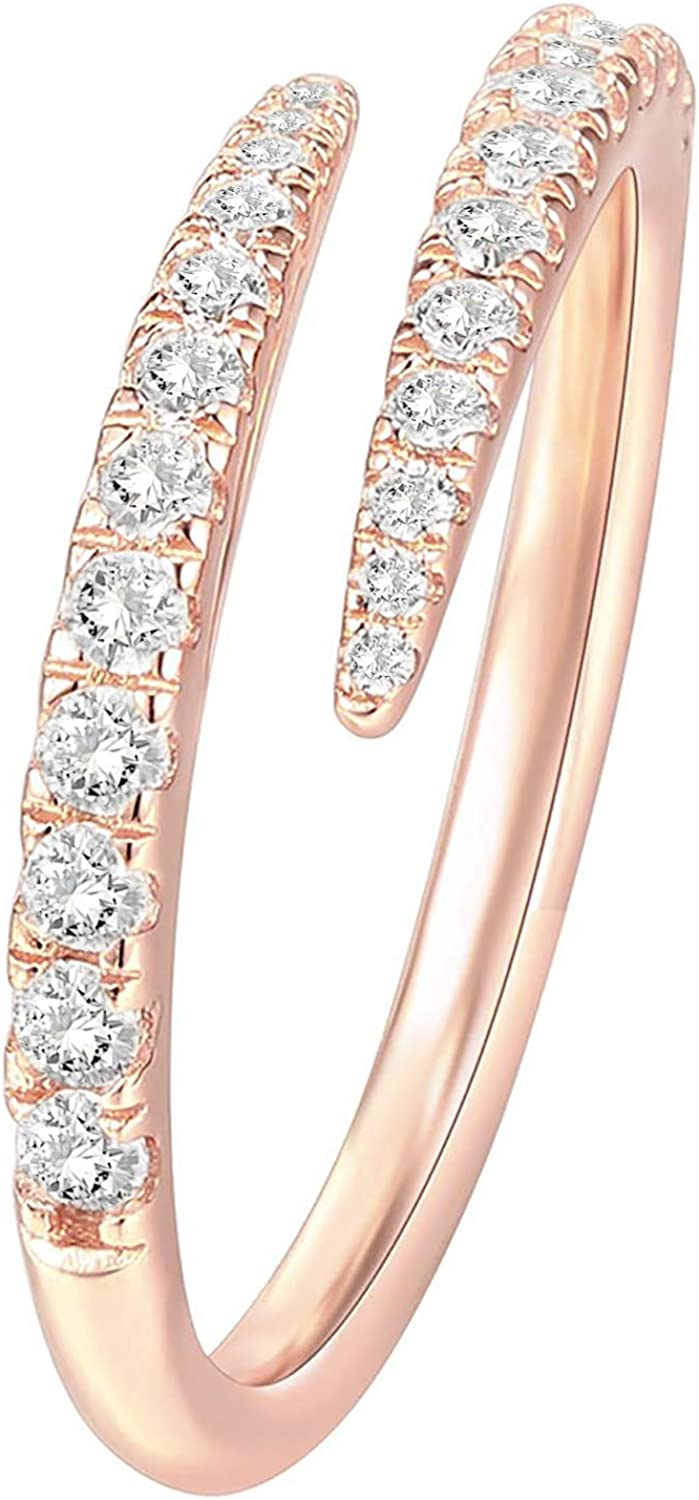 PAVOI 14K Gold Plated Cubic Zirconia Open Twist Eternity Band for Women