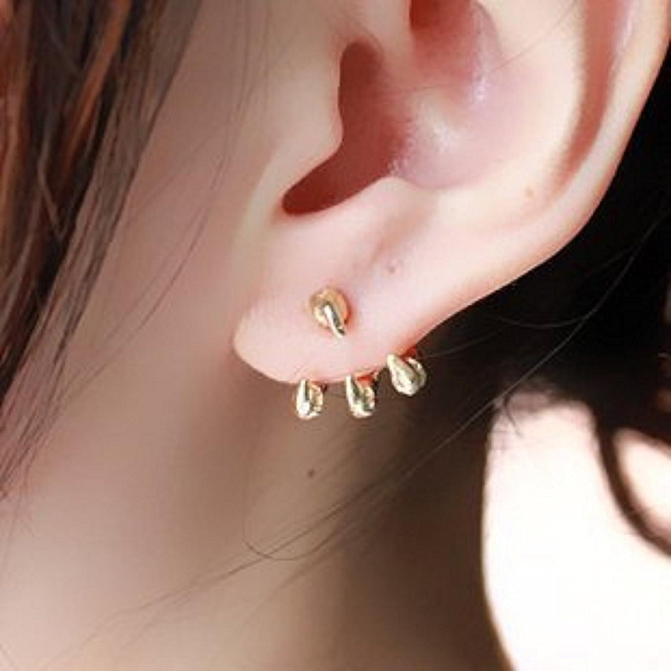 研磨剤花に水をやる純粋なドラゴンの爪ピアス 龍の爪タイプ 2個セット両耳用 耳飾り メンズ レディース ゴールド Gold プレゼント?贈り物にも