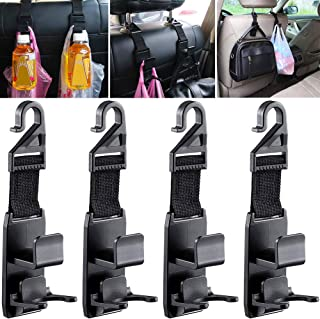 Auto Rücksitz Haken Universal LLMZ 4 pcs Rücksitz Kopfstütze Haken für Einkaufstaschen Handtaschen Getränke Geldbeutel Lebensmittel Tasche und Flaschenhalter Schwarz