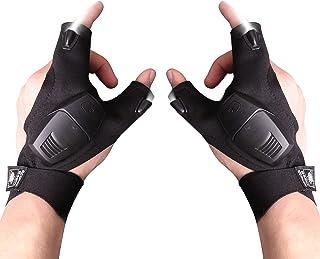 LED Flashlight Gloves Valentines Day Gifts, Light Gloves Tools Gifts for Men, Women, Fingerless Hand Light Tool for Fishin...
