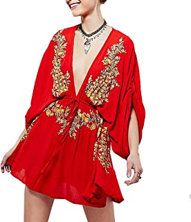 Women's Summer Bat Sleeves Vintage Floral Embroidered Deep V Neck Cotton Boho Swing Short Dress